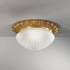0590-04 French Gold  ceiling lamp cut glass