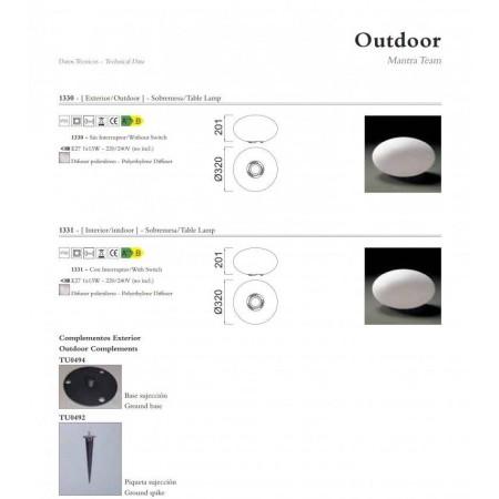 настолна лампа, лампион / правостояща лампа, външна лампа @1330 IP65 / no switch 1xE27 20W (not incl.)