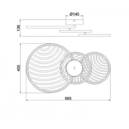 плафон 7232 Plafon LED 40W/3000K Negro