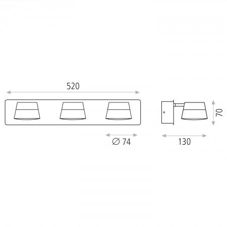 R4110R30C (4110/R3 Chrome 3x5W/3200K IP44)
