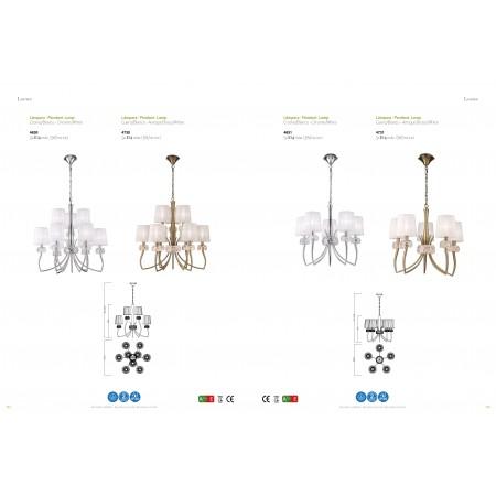 полилей 4631 Pend 5L Chrom/White Shade 5x13W E14