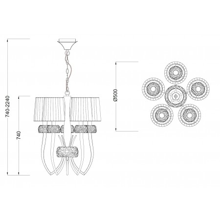 полилей 4632 Pend 5L Chrom/White Shade 5x13W E14