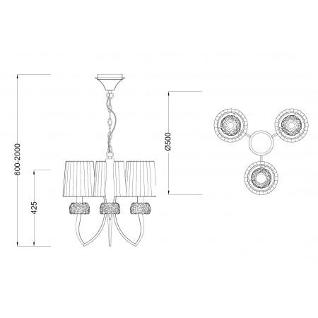 полилей 4633 Pend 3L Chrom/White Shade 3x13W E14