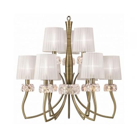 4730 Pend 6+3L Antique/Brass/White Shade 9x13W E14