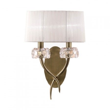 4734 Wall 2L Antique Brass/White Shade 2x13W E14