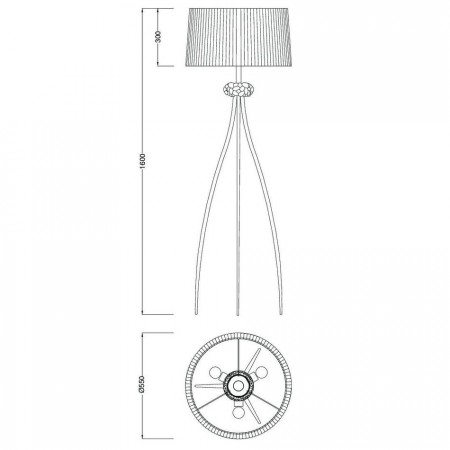 4638 Floor Lamp 3L Chrom/White Shade 3x13W E27