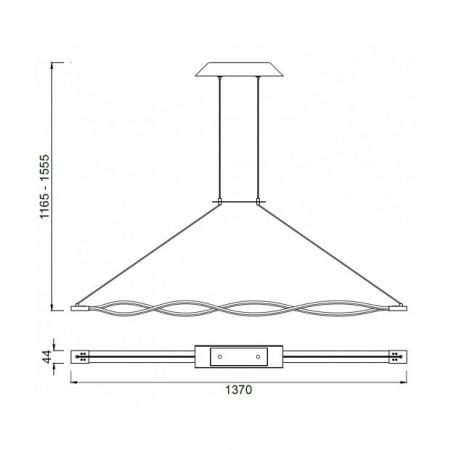 полилей 4865 Pend 137cm SILVER/CHROME LED 42W/3000K