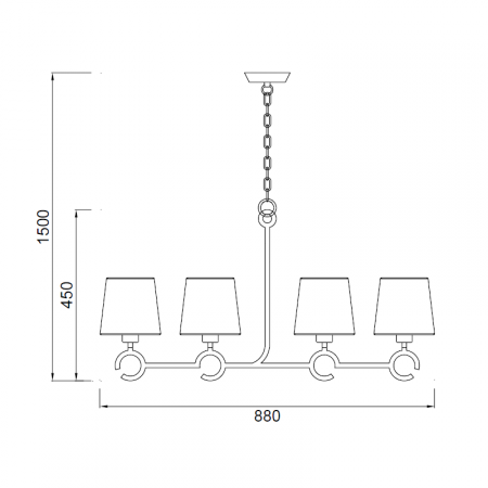 полилей @5212 Pend 4L Brown-Oxide 4xE27 max 13W (No incl.)