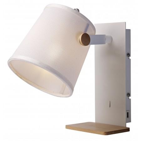 5462 WALL LAMP SHADE USB WHITE/WOOD 1xE27 23W (No