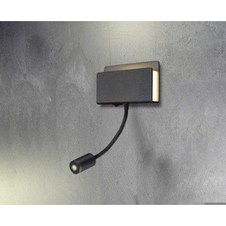 5714 WALL BLACK 2LED 1+1L 3+3W/4000K