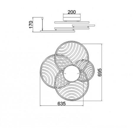 плафон 7231 Plafon LED 60W/3000K Oro