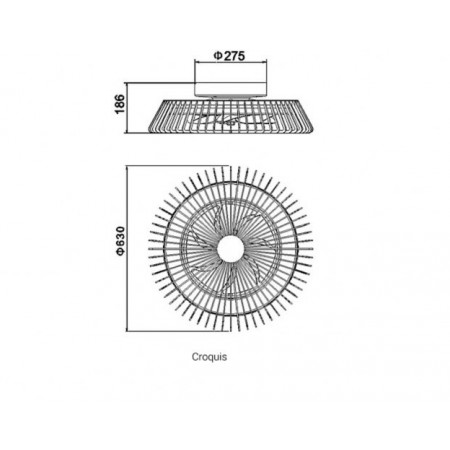 плафон 7122 Ventilador 30W 70W/2700K-5000K Plata