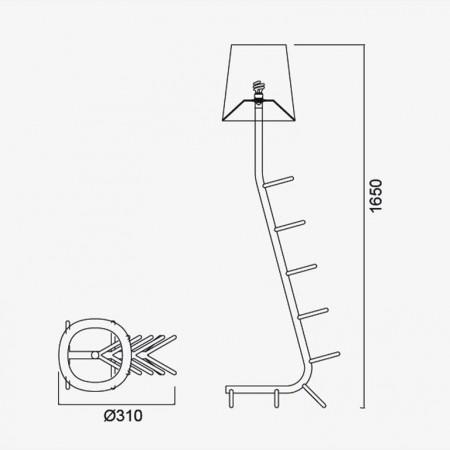 лампион / правостояща лампа 7254 Pie De Sal?n Blanco 1xE27 (Not Incl.)