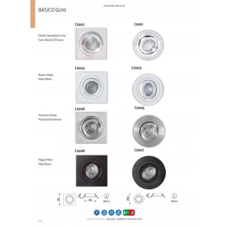 C0002 Alu 92*92*24mm GU10 50W incl. Nickel/Chrom