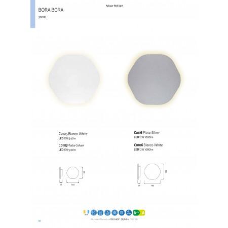 аплик C0105 LED 144*135mm Alu/White 6W/3000K