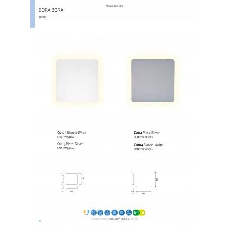 плафон, аплик C0104 LED 180*180mm Alu/White 12W/3000K