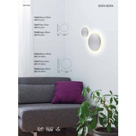 C0102 LED ?180mm Alu/White 12W/3000K