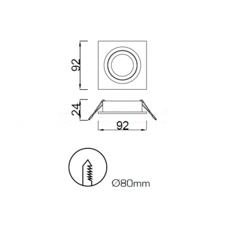 луничка / луна, спот лампа C0004 Alu 92*92*24mm GU10 50W incl. White
