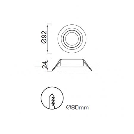C0005 GU10 Round ALU 1xGU10 max. 50W (No Inc.)