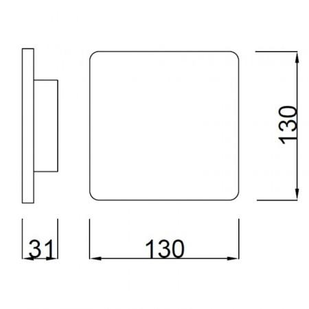 C0104 LED 180*180mm Alu/White 12W/3000K