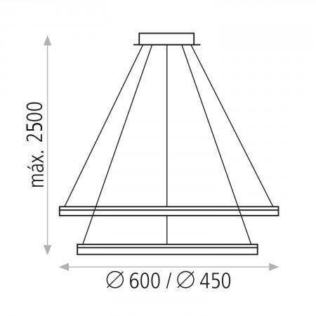 полилей C344420B (3444/2 32+24W/3200K White Pendant)