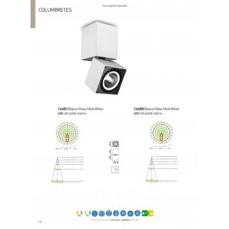 спот лампа C0087 LED COB 76,2*76,2*163mm 12W/3000K Alu/White