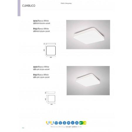5502 SQUARED CEILING LAMP 40x40cm WHITE 35W/4200K