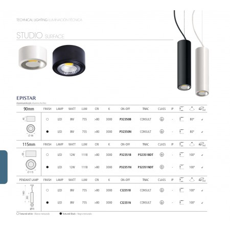 пендел, спот лампа C32351N (3235/7 Black 8W/3200K IP20 Pendant)