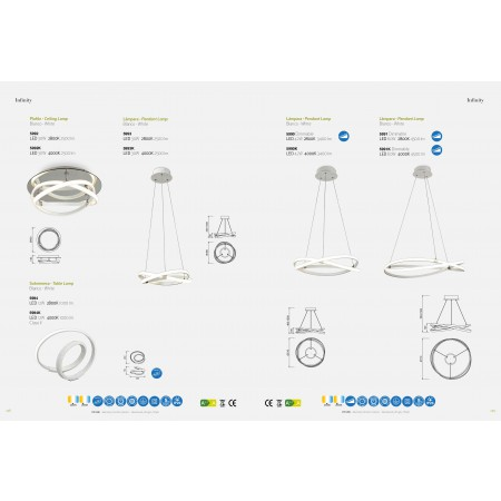 ^5990K Pend 50cm DIMMABLE WHITE LED 42W/4000K