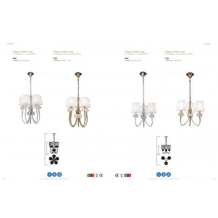 4732 Pend 5L Antique/Brass/White Shade 5x13W E14