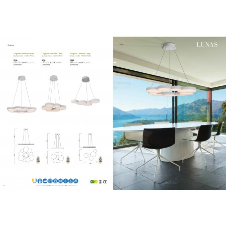 ^5760 PEND LAMP DIMMABLE CHROME LED 90W/3000К