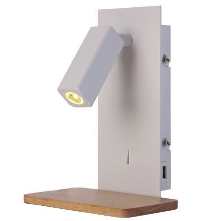 5463 WALL LED Reader USB WHITE/WOOD 3W/3000K
