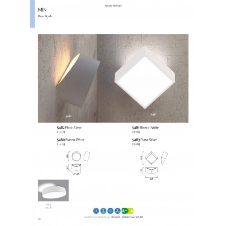 5483 WALL LAMP 2L SQUARE SILVER 2xLED G9 5W (No In
