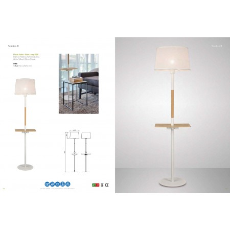 5465 FLOOR LAMP 1L USB WHITE/WOOD 1xE27 23W (No In