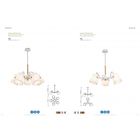 5460 Pend 5L WHITE/WOOD 5xE27 23W (No Inc)
