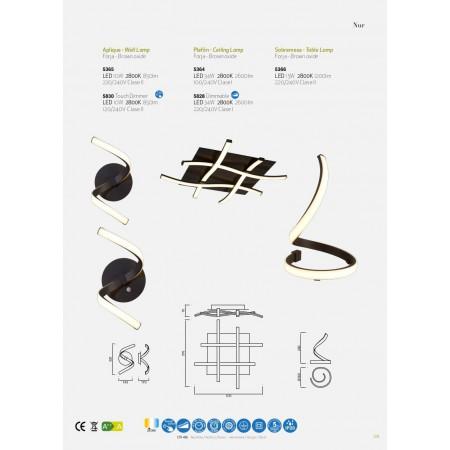 плафон, аплик 5365 NUR BROWN OXIDE WALL LAMP 10W/2800K