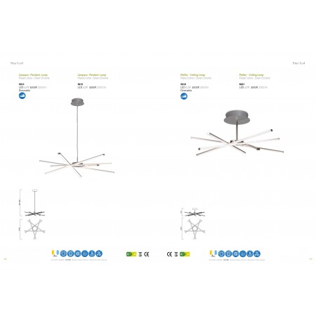 плафон 6031 Celing LED 42W/3000K (STAR) Chrom/Silver